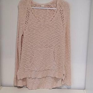 Roxy• blush pink high low loose knit hoodie